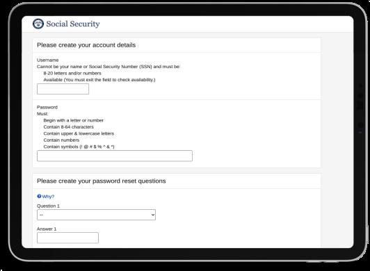 iPad Create Account Details